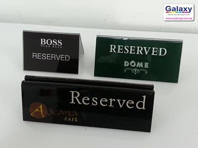 Acrylic Reserved Sign